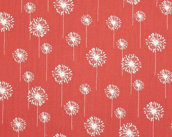Coral and white dandelion print fabric remnants 3 pieces