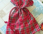 Two / Plaid Red Fabric Drawstring Bags / Gift Bags / Party Favors