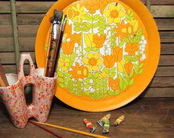 Vintage Retro groovy Orange Yellow round Floral Tray 60's 70's serving tray