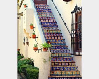 Mosaic Tile Photo, Architecture Photo, McNay Museum Art, San Antonio Photo, Colorful Steps, Colorful Wall Decor, Mexican Decor