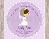 PRINTABLE First Holy Communion Favor Tags in Lavender / Print Your Own Personalized Stickers for First Holy Communion / Choose Hair Color