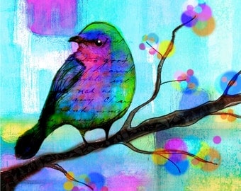 Bird Print  flowers  tree leaves Bird art