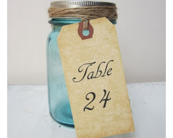 12 Table Number Tags - Double Side Table Numbers - Mason Jar Table Number -  Wine Bottle Table Number Tag - V01