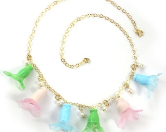 Lampwork necklace, Handmade Glass necklace, Handcrafted glass necklace, Thimble bells in pastel shades,14k Gold-Filled SRA