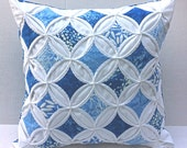 45% Off Decorative Pillow Cover Cathedral Window Pillow Blue Batik 18 Inch