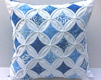 50% Off Decorative Pillow Cover Cathedral Window Pillow Blue Batik 18 Inch