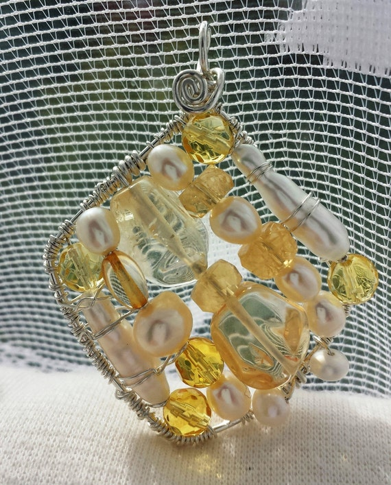 Wire wrapped Sterling silver one-of-a-kind Citrine Pearl Square Pendant
