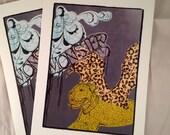 fine art pet portrait greeting cards, set of 2 blank greeting cards, bulldog pitbull illustration with wings, modern dog art animal donation