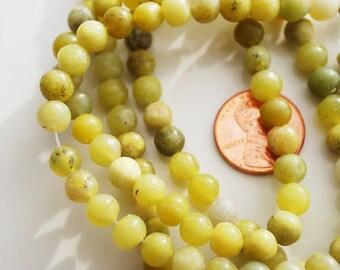 Last one, Full Strand, Olive Jade Round Beads, 5MM