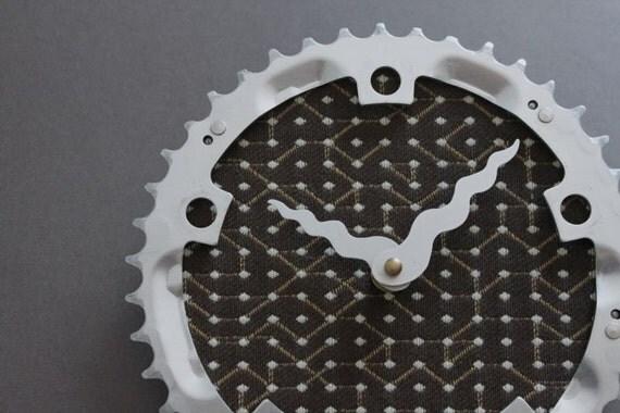 Bicycle Gear Clock - Geometrical Brown | Bike Clock | Wall Clock | Recycled Bike Parts Clock