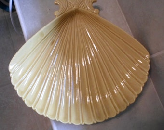 Vintage California USA Pottery fan shaped serving  dish.dark yellow ceramic large