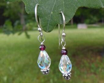 Garnet & Swarovski Crystal Earrings