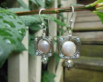 Framed Freshwater Pearl & Swarovski Crystal Earrings