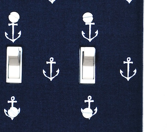 Double Standard Light Switch Plate Cover - Navy Blue with White Anchors, nautical