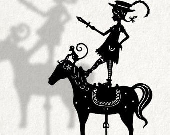 Pippi Longstocking / Laser cut Shadow Puppet