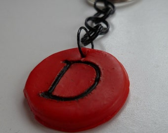 Red Intial D Keychain