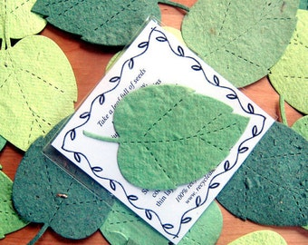 100 Plantable Leaf Wedding Favors - Flower Seed Paper Leaves - Seed Packets Envelopes Wedding Favor Cards Emerald Forest Green Kelly Kiwi