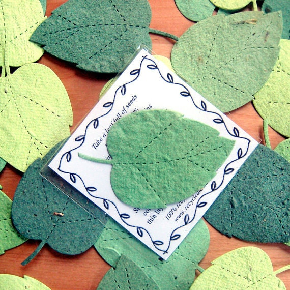 25 Green Leaves Seed Paper Plantable Wedding Favors - Seed Paper Leaf - Emerald Kelly Kiwi Forest Green Seed Cards Packet Envelopes Favor