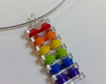 Rainbow pendant made of Lego bricks on a stainless cable choker