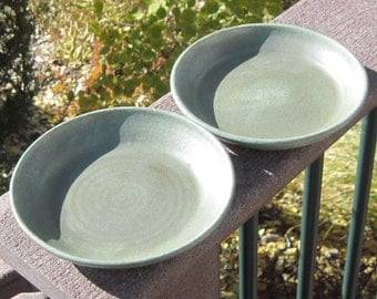 Two Dessert Dishes in Green - Visit shop for more Handmade Pottery