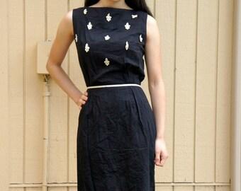 Vintage 60s black dress/ Retro/ Mad Men style