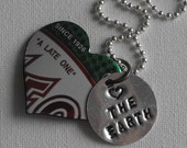 Earth Day Love Recycled Necklace Upcycled Soda Can Heart Pendant Hand stamped Charm
