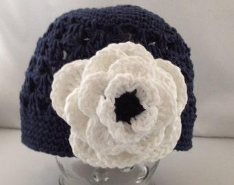 Beanie Hat Crocheted  Baby Toddler Indigo Blue, White Modern Trendy Flower