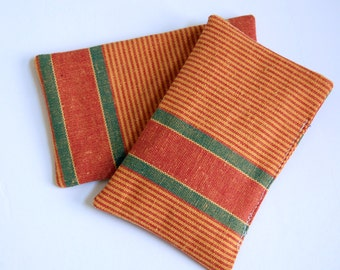 Vetrina Striped Organic Lavender Sachets / fragrance sachets / drawer sachets / laundry dryer sachets / bright orange / natural aromatherapy