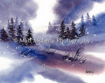 Christmas Snow Fine art print from original watercolor