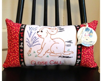Pillow Cute and Playful Puppy made with Vintage Tea Towel and Vintage Fabric and Trim