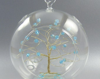 Glass Christmas Ornament Aquamarine Blue Swarovski Crystal Elements and Gold March Crystal Christmas Ornament
