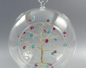 Christmas Ornament Custom Tree Sculpture Glass Ornament in Swarovski Crystal Elements
