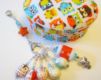 Brilliant Owls - Customizable Stitch Marker Box Set