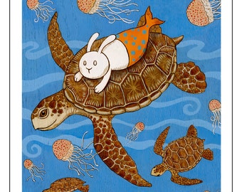 "The Sea Turtle Hitchhiker Merbunny Art Print 11""x14"""
