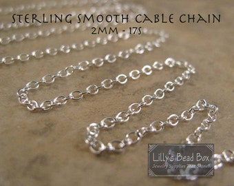 3 Feet of Silver Cable Chain, .925 Sterling Silver Chain, 2mm Rounded Chain for Everyday Necklace, Thin Silver Chain (17s)