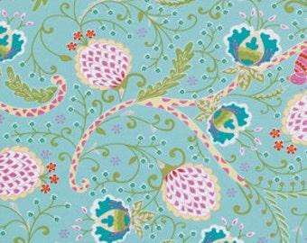 Little Azalea Bird of Paradise Aqua by Dena Designs for Free Spirit, yard