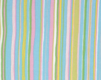 Dena Designs, Tiddlywinks, Stripe in Blue, LAST 30 Inches