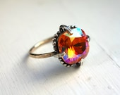 Handmade Sterling and 14k Gold Fill ring with pink Swarovski Crystal
