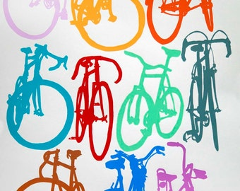 Bike Art  Print - Bicycle Color Chart on Velata Paper