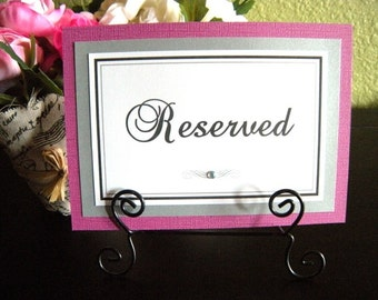 5x7 Flat Custom Printed Reserved Table Paper Signs for your Wedding or Party - Any Color or Style