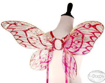 CLEARANCE SALE - Calliope No. 4 - Small Cellophane Fairy Wings in Red Glitter