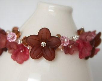 Lucite Flower Charm Bracelet Brown & Pink on Sterling Silver