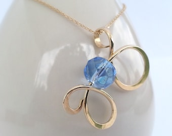 Curly Pendant Gold Filled Light Sapphire Glass Curly Metalwork Pendant Necklace