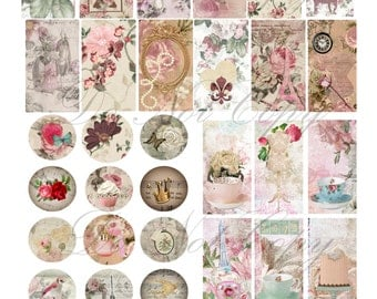 Buy 1 Get 1 FREE Vintage Paris Ultra Shabby - Rose French Chic - Music Sheet - Variety Digital Collage - INSTANT Download