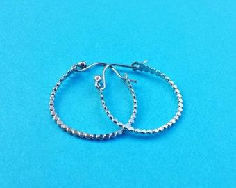 Small hoop silver hoops tiny silver hoops beadwire sterling silver hoops hooplets