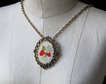 REDUCED Needlepoint Necklace, Vintage Necklace, Floral Necklace, Granny Necklace, Etsy, Etsy Jewelry