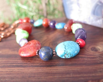 Long Bohemian Gemstone Necklace -  Copper Chain - Chunky -Fiery Orange - Red Turquoise - Boho - Southwestern - Mexican Fiesta - Crystal