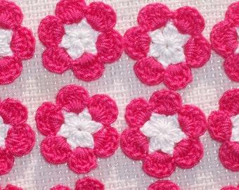 12  cotton thread crochet applique flowers white & bright pink --  1482