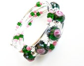 Dark Green and Pink, Silver Memory Wire Bracelet, Handmade Jewelry
