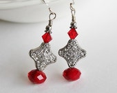 Red and Silver Rhinestone Earrings, Sparkly Red Earrings, Festive Holiday Statement Jewelry